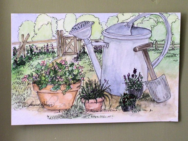 Title: Garden Tools Medium: watercolor on paper