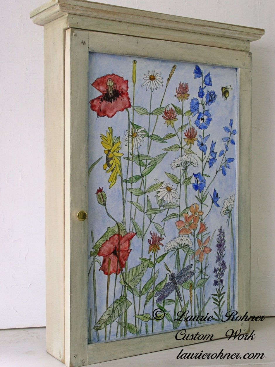 hanging painted wall cabinet