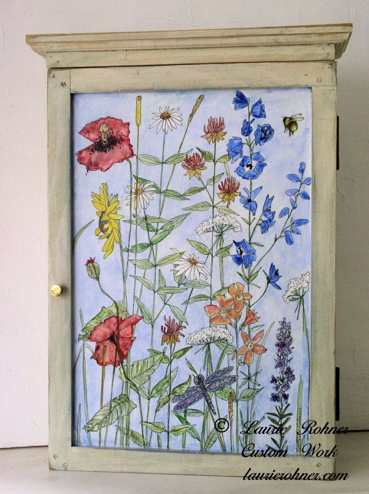 Painted Hanging Wall Cabinet with Botanical Art