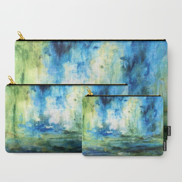 contemporary-abstract-painting-spring-rain-carry-all-pouches set of 3