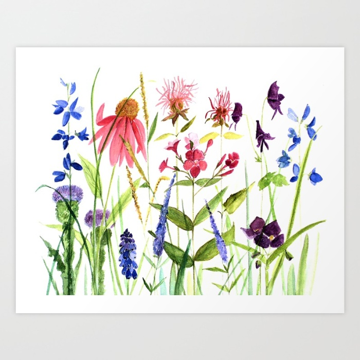 colorful flower watercolor illustration print