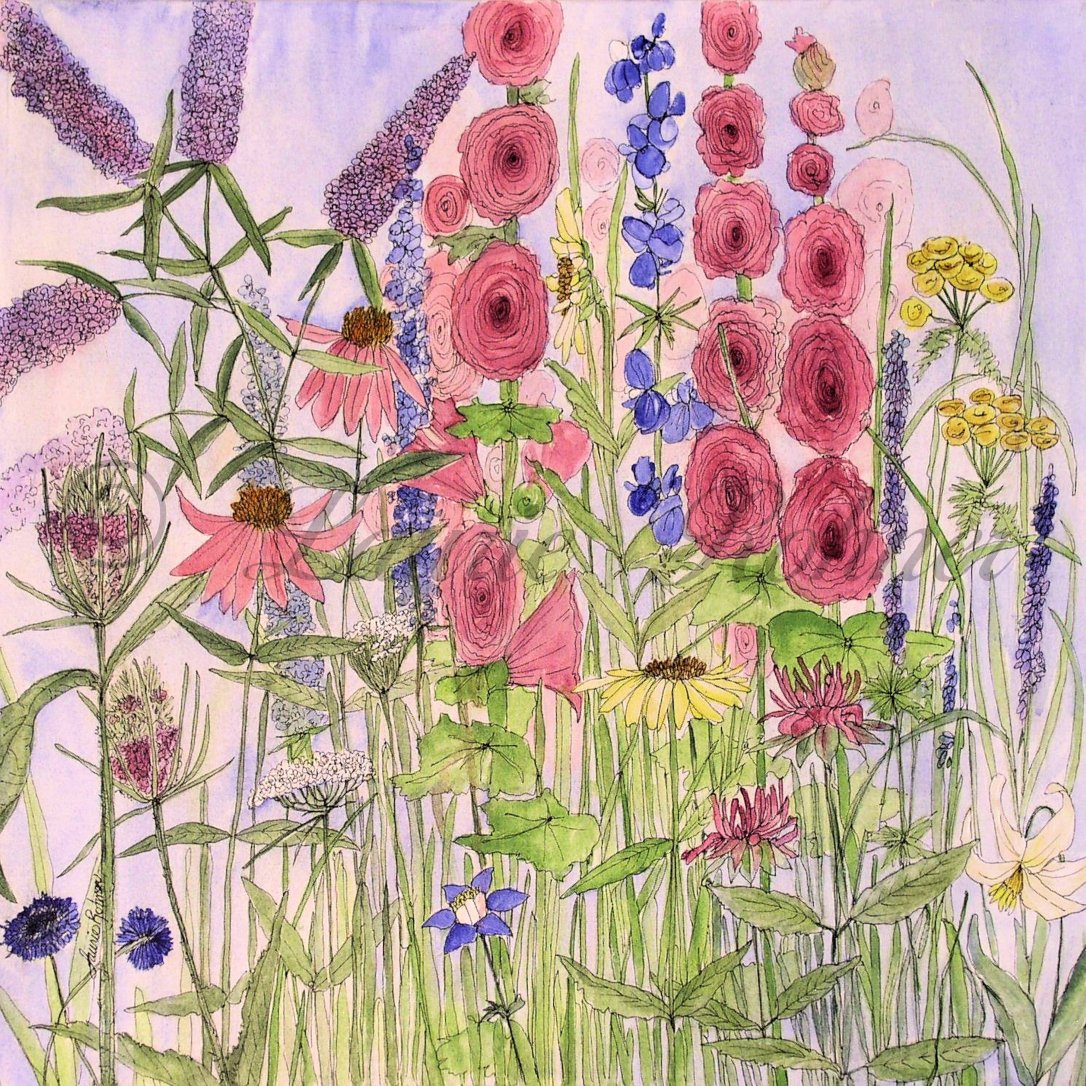 Wild Flowers Acrylic on Canvas by Laurie Rohner