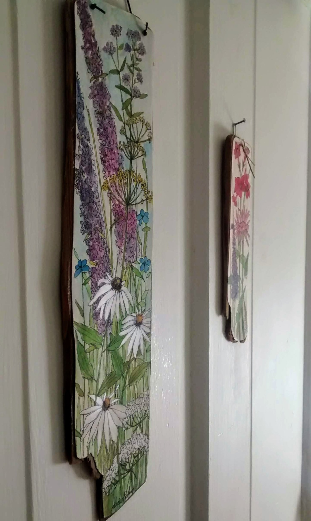 hand painted wood illustration with flowers