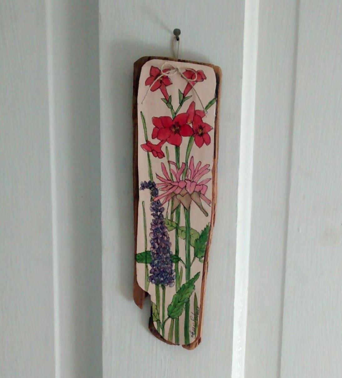 flower illustration on wood