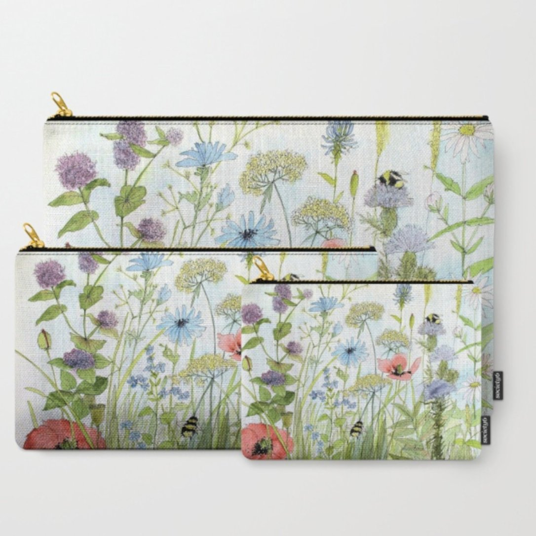 Botanical garden flower set of three carry all pouches