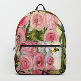 Backpack printed with garden flowers