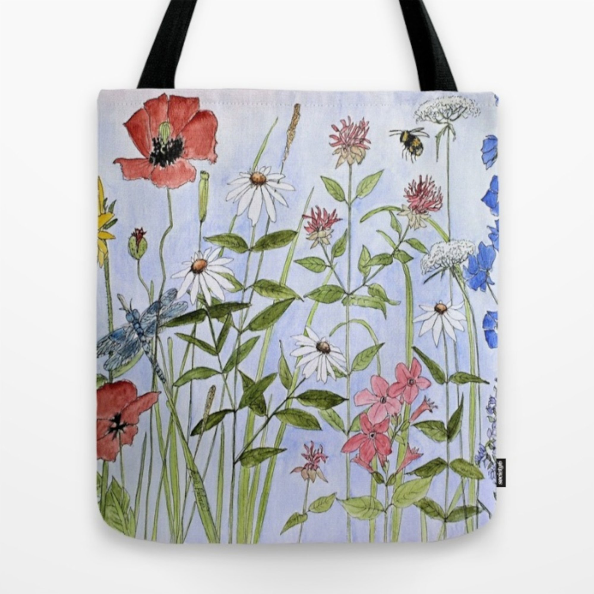 Contemporary watercolor flower bags