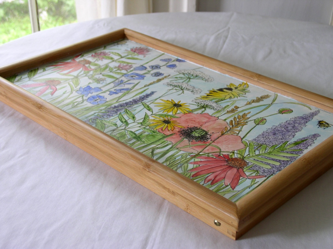 Painted Tray measures 20 x 8.5 inches Tray height with legs 20 inches high