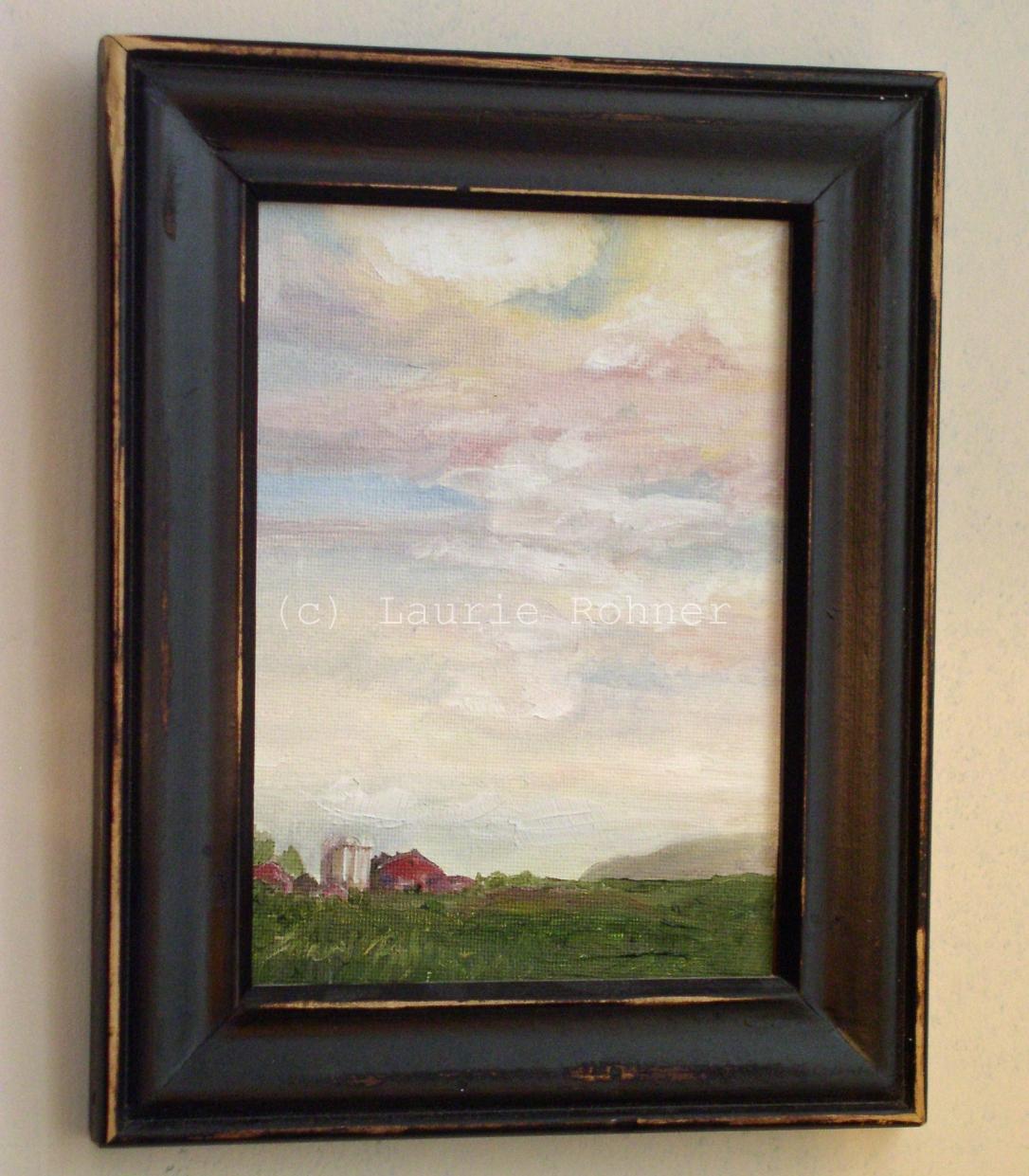 Original oil painting farm landscape and sunrise